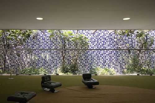 Interior of National Congress of Brazil, Brasilia. Senate & Chamber of deputies, foyer |     Architect: Oscar Niemeyer 1958.  Landscape architect: Roberto Burle Marx