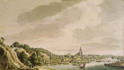 Op deze met waterverf ingekleurde tekening van Jan de Beijer uit 1741 is de scherpe overgang tussen de stuwwal en het rivierlandschap goed te zien.