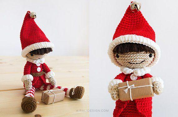 Handmade in UK Crochet Tricot Noël Santa Elf Chapeau Bébé Enfant Photo Prop