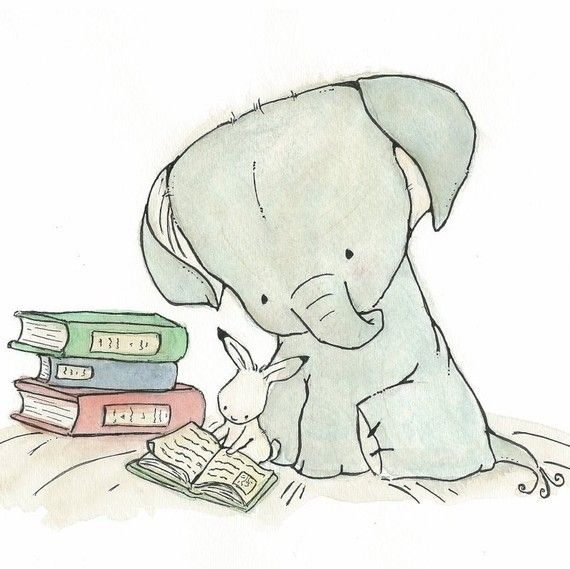 Read With Me 8x10 Nursery Art Print elephant theme for Baby and Children