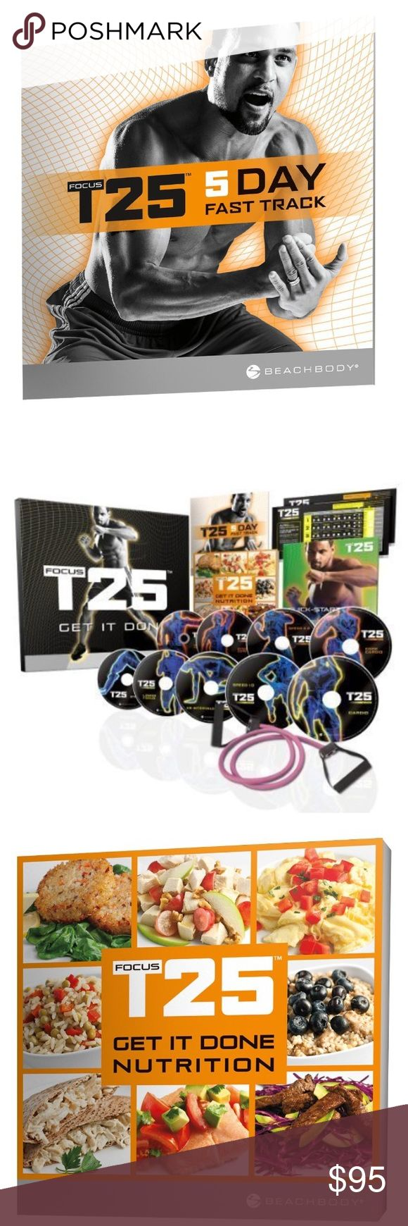 Beach Body FOCUS T25 Shaun T's Workout DVD Program NWT I Bought for myself but had surgery during this time and was told to not exercise by my doctor 😕. So it's still new in the box!!📦 Workout DVD Program—Get It Done in 25 MinutesFeatures T25. Includes 11 nonstop 25-minute workouts on 9 DVDs, Quick-Start Guide, Nutrition Plan, Workout Calendars, B-LINES Resistance Band (15 lb.), and 5-Day Fast Track Guide (located inside shrink wrap)Major studies show that 30 mins of exercise is as…