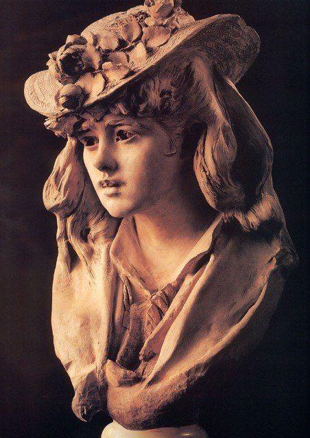 Огюст Роден - Девушка с розой на шляпе, 1865 - 1870