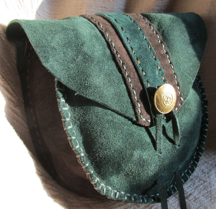 Leather Belt Pouch, Pouch Green and Brown Suede, LARP, SCA, Renaissance. $59.99, via Etsy.