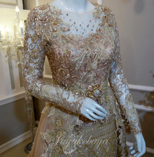 wedding dress kebaya modern lace 2016 - gold color