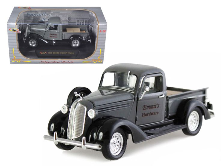 """1938 Dodge Pickup Truck Grey """"Emmit's Hardware"""" 1/32 Diecast Car Model by Signature Models - Brand new 1:32 scale diecast model of 1938 Dodge Pickup Truck Grey Emmit's Hardware die cast car by Signature Models. Brand new box. Rubber tires. Dimensions approximately L-6. Has opening doors, hood and rear gate. Made of diecast with some plastic parts. Detailed interior, exterior, engine compartment. Please note that manufacturer may change packing box at anytime. Product will stay exactly the…"""