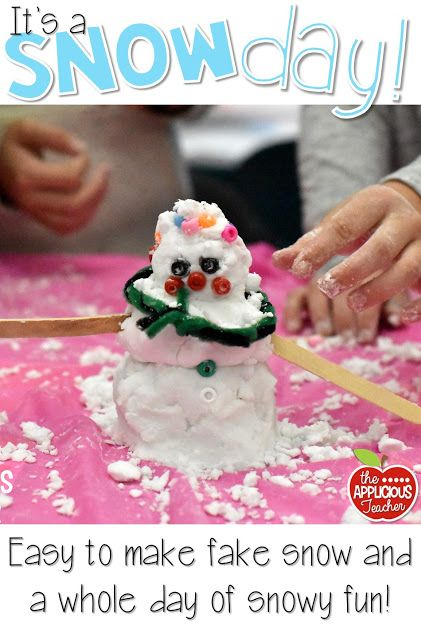 "Love this teacher's ideas for bringing a snow day into the classroom! She's got ideas for reading, science, and of course some hands on STEM with ""snow""!"