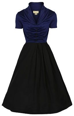 Short Sleeve Pin Up Dress in Blue (flattering for curvy girls)