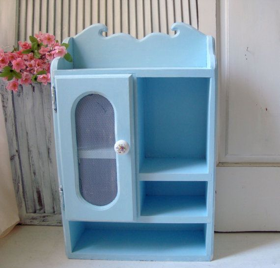 Blue Large Shelf Vintage Wooden Shelf Beach by WillowsEndCottage