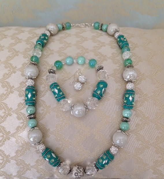 Mother's Day Gifts, Mint Green Jesse James Beads, Aqua Necklace, Mint Green Necklace, Jesse James Beads, Elegant Necklace,Ships From USA by BeadsDesignedbyRenea on Etsy