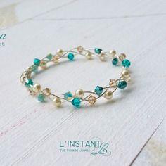 Bracelet argent 925 tressé aina - blue zircon / cream pearl- l'instant c
