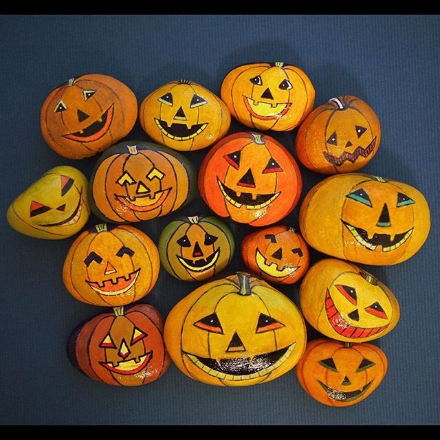 halloween pumpkins painted stones rock painting ladybug - Halloween Pumpkins Painted