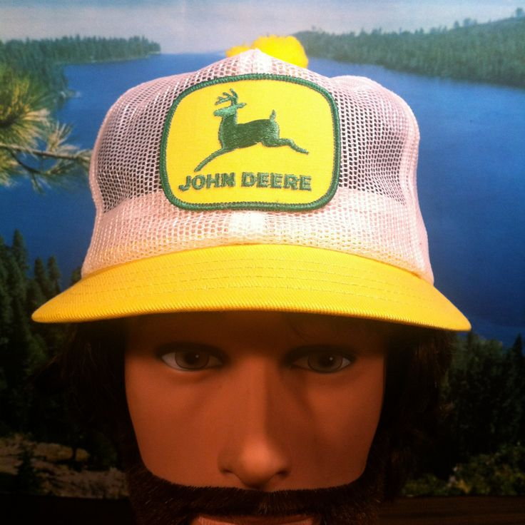 Vintage John Deere Short Bill Mesh Trucker Hat Snap Back Pom Pom on Top Yellow & White Tractor Farming by vintagebaron on Etsy
