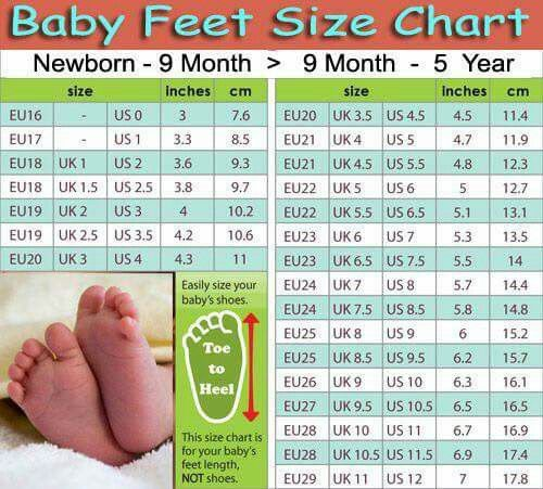 Baby feet size