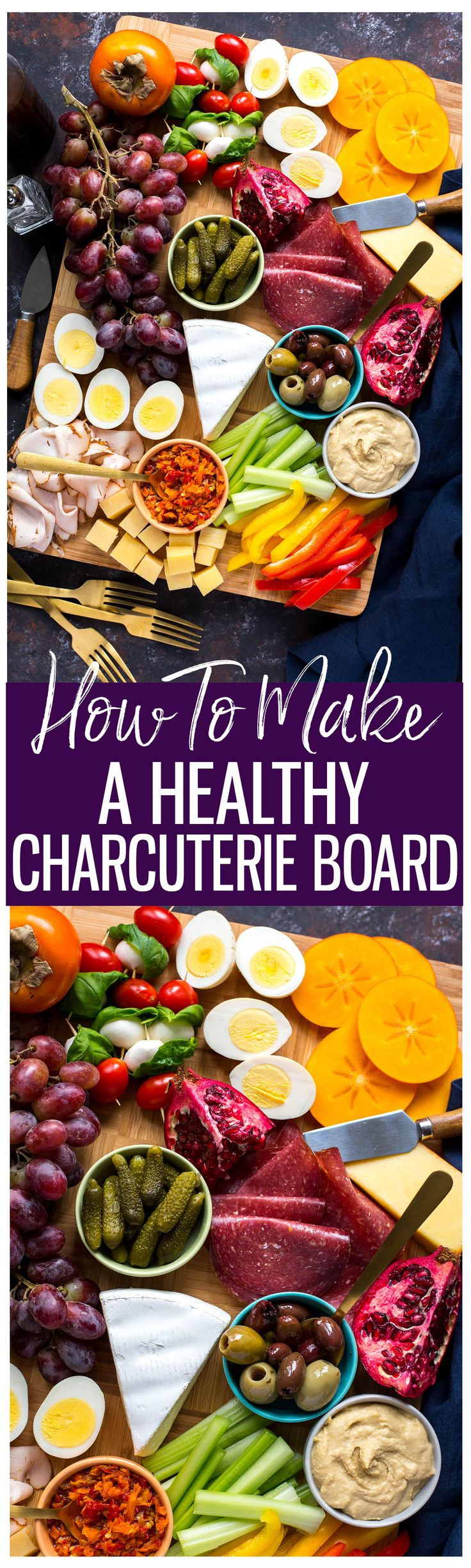 This Protein-Packed Healthy Charcuterie Board is a delicious holiday appetizer idea with nutritionally-dense, low-calorie ingredients like hard-boiled eggs, lean-deli turkey, a variety of cheeses, pickles, hummus and more!