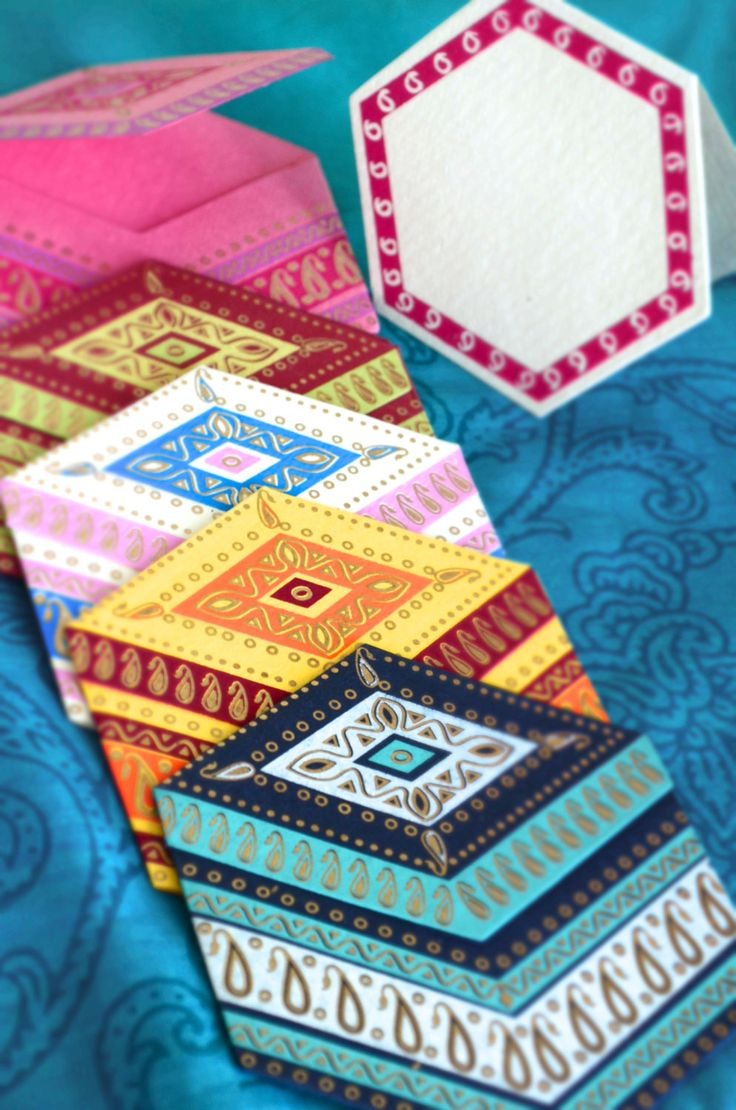 Exotic Hexagonal Greeting Cards with Indian Design (Set of 5)