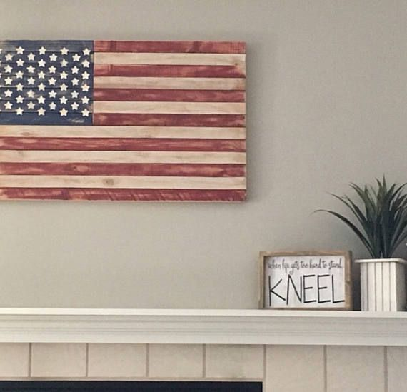 Distressed Wooden Red White And Blue American Flag. Wide X Tall X Thick,  Wooden American Flag Wall Art,