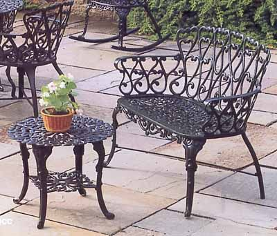 Wonderful Garden Bench Cast Aluminum Patio Garden Furniture Heart Loveseat Bench And  Occasional Table These Are Classic Part 19
