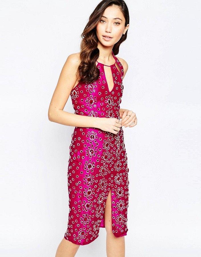 VIRGOS LOUNGE Virgo's Lounge Adrianna Jewel Encrusted Midi Dress