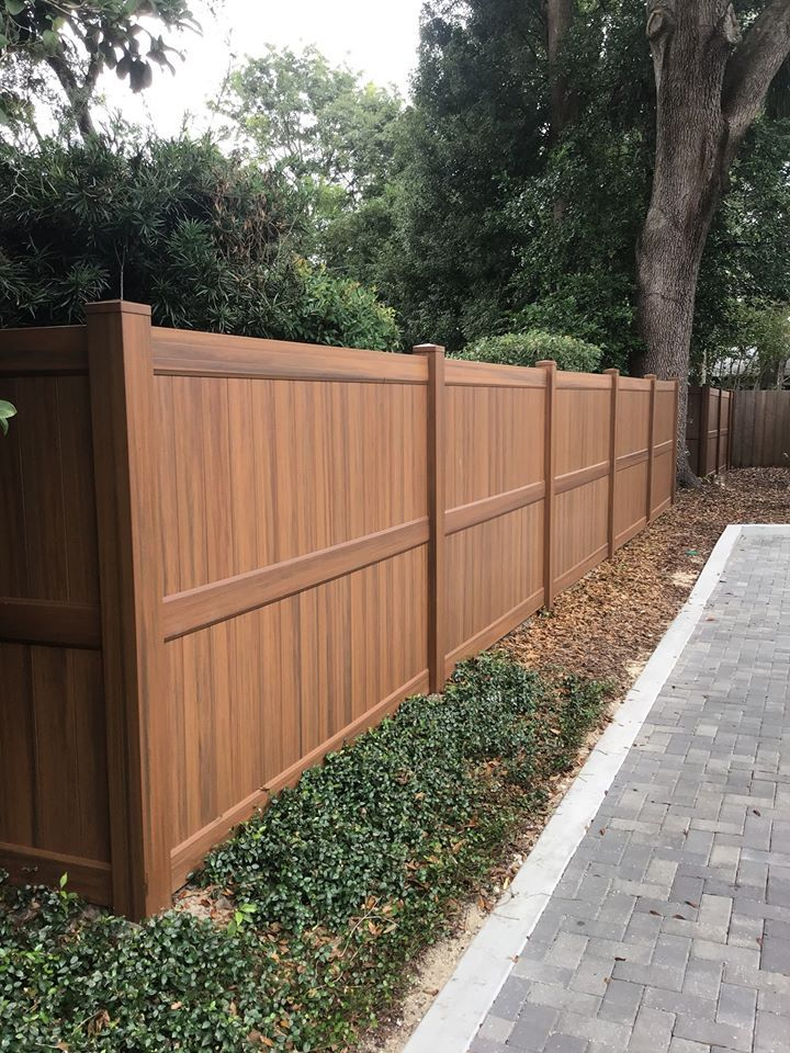 Vinyl Wood Grain Fence Vinyl Fence Landscaping Wood Grain Vinyl