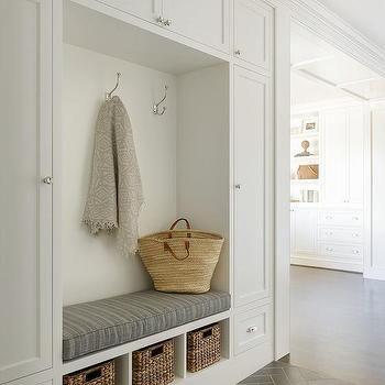 White and Gray Mudroom with Gray Herringbone Floor Tiles