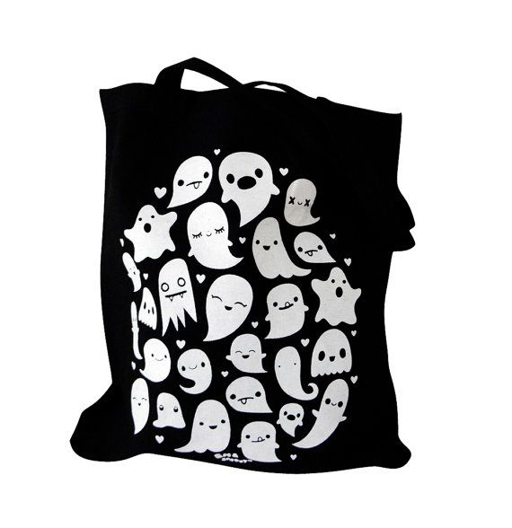 GHOST Tote Bag  Kawaii Ghosts Totebag Purse by emandsprout on Etsy, $12.00