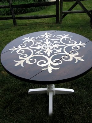 A stenciled table! What a great idea especially for a thrift store table. I would do this for my home and classroom.