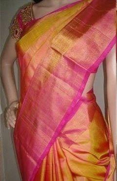 Buy Uppada Golden color handlloom silk saree Online India - 5210270
