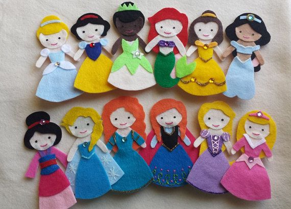 Handmade and designed by me Disney Princess Finger Puppets --- check out my Etsy page at www.cloudkids.etsy.com