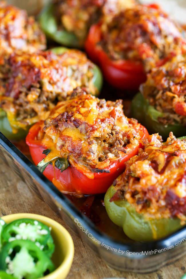 Mexican Stuffed Peppers make for an incredible dinner any night of the week. They are filling, absolutely delicious and they can be prepared ahead of time. This recipe puts a scrumptious southwestern spin on a classic recipe creating a new family favorite! Substitute Cauliflower Rice for a low carb, low cal option!