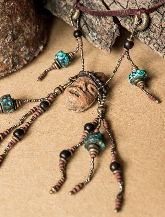 Turquoise shaman necklace/ boho chic necklace/ OOAK/ beaded