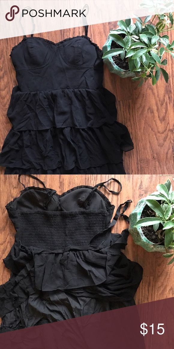 American Eagle dress Great condition. No holes or stains. Has ruffles. Elastic part in the back. Adjustable straps. A strap to tie a bow in the back. I'm 5'2 and it comes a little above my knees. Ask before bundle because some items are located with me In Hawaii and some are in storage with my mom in SC who is helping me sell them. American Eagle Outfitters Dresses Mini