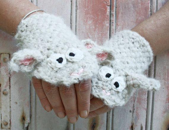 Ягненка перчатки без пальцев - крючком ручной работы белого животного грелки для взрослых и детей, короткие перчатки, наручные теплее, 3Д перчатки