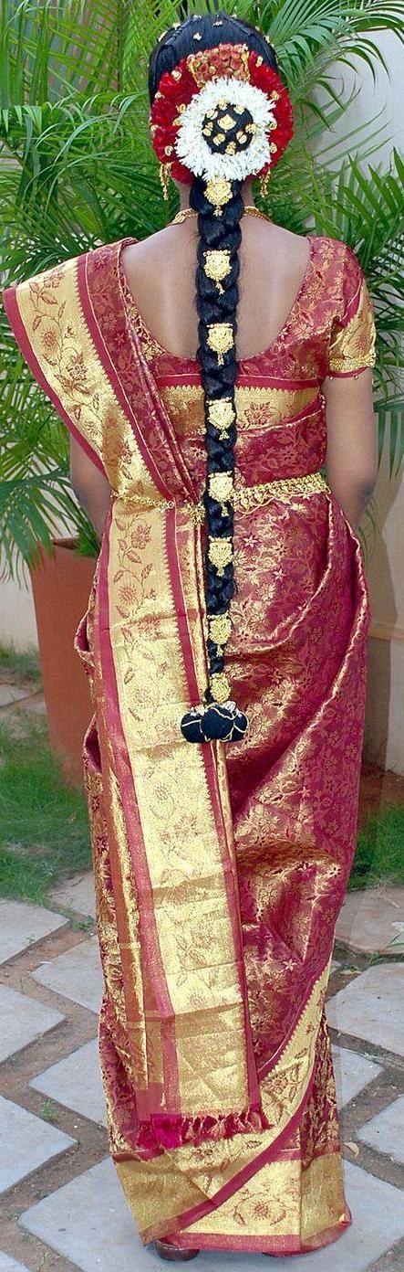 Tamilnadu Bridal Hairstyle : Tamilnadu traditional bridal braid hair style south