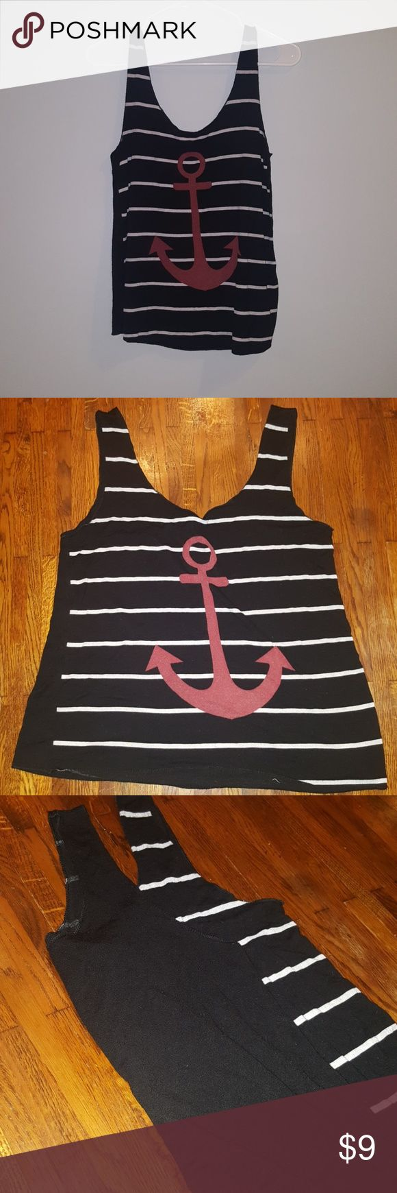 Soft anchor tank top Black with white stripes. Red anchor. Tank is flowy and very soft. Back is solid black. Great condition, except the tag is starting to come off, as shown in picture. Other than that, it's a great, super cute shirt! Has a vintage feel to it. B_envied Tops Tank Tops