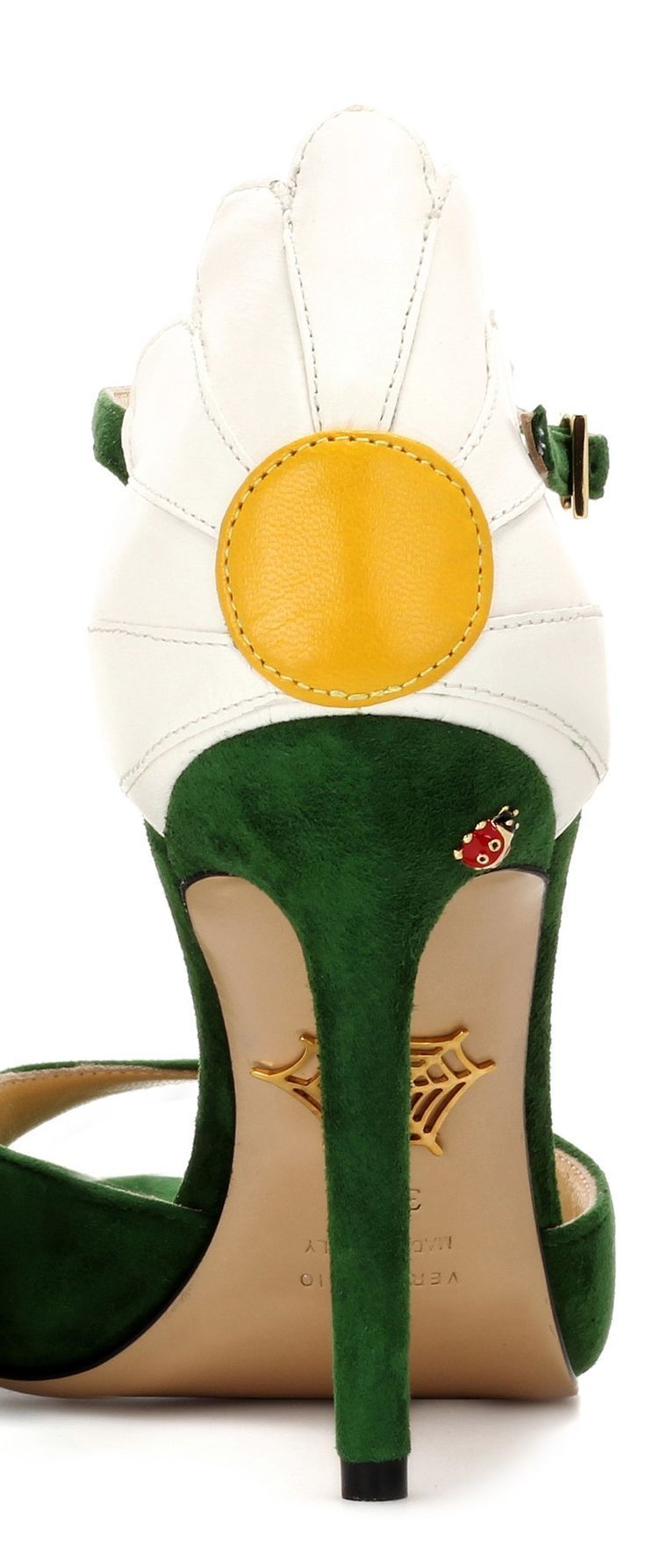 Charlotte Olympia Ladybird, Ladybug Enamel Details, Marge 100 embellished suede sandals shoes. Crafted in verdant green suede with high stiletto heel, these are statement maker shoes. The heel is hugged by a leather daisy, accompanied by a painted gold-tone ladybug for quirky effect. Look so pretty with a contrasting Green or Sapphire Blue Dress. Fashion Outfits inspiration Ideas. Shoe addict. #shoes #heels #racingfashion #affiliate #shopping #fashionista #daisy #florals #flowers…