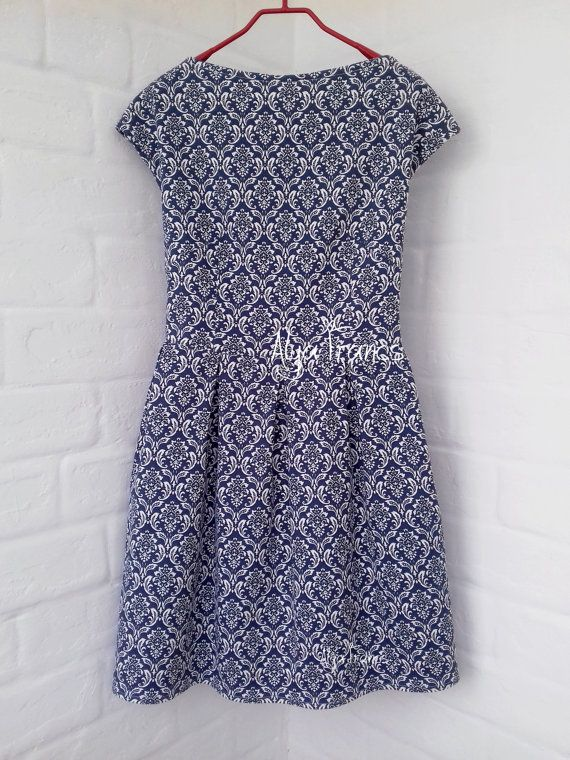 Floral dress Blue and white striped dress Dress Navy Summer dress Baby Blue Bridesmaid Bachelorett Party Dress Vintage Style White Dress  Condition: New - handmade Colour: blue/white Brand: Alya Francs   • Size guide: The item should fit to a girl/woman with approximate measures around: UK6 / US4 / EU34 / XS - Bust - 78-82cm, Waist - 58-62cm, Hips - 84-88cm UK8 / US6 / EU36 / S - Bust - 82-86cm, Waist - 62-66cm, Hips - 88-92cm UK10 / US8 / EU3...