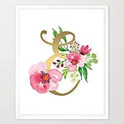 Eleville 8X10 Monogram Letter E Real Gold Foil and Floral Watercolor Art Print (Unframed) Nursery Decor Kids Name Art Motivational Art Inspirational Print Birthday Gift New Baby Print Baby gift WG052
