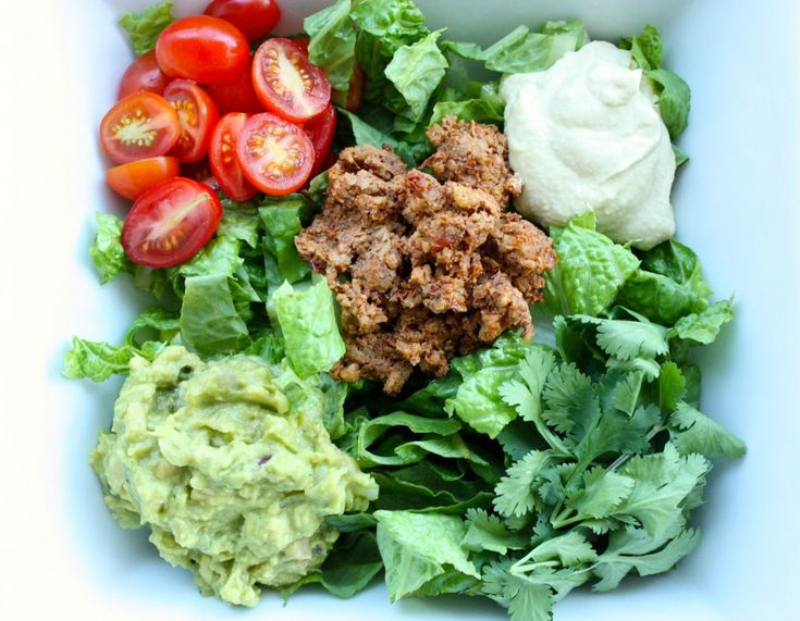 Raw Taco Salad with walnut taco meat, cashew cream, and guacamole [vegan, gluten-free] | Choosing Raw