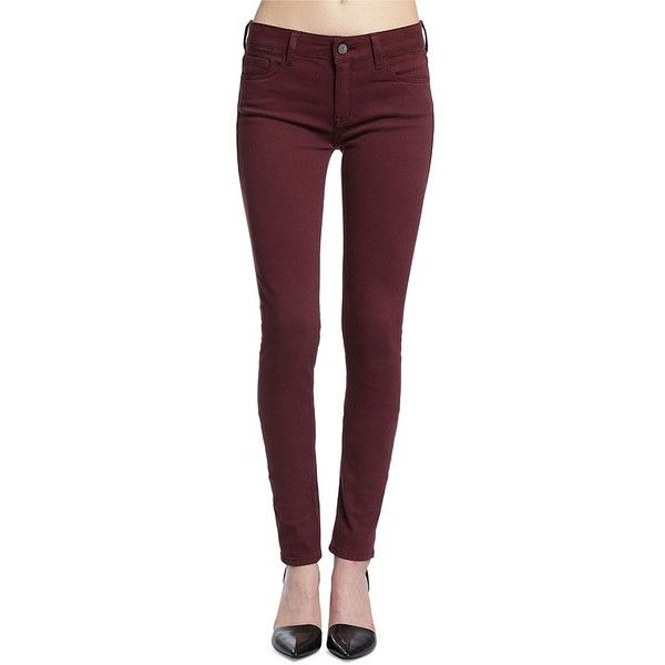 Mavi Mid-Rise Skinny Twill Jeans ($98) ❤ liked on Polyvore featuring jeans, urgundy, mavi skinny jeans, skinny jeans, skinny fit denim jeans, zipper skinny jeans and skinny leg jeans