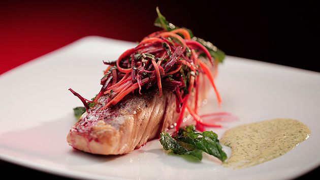 MKR4 Recipe - Salmon with Carrot and Beetroot Salad and Mint Aioli
