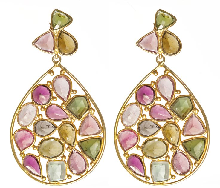 Multi-coloured tourmaline #earrings... Heavenly. And they come in a variety of different stones..