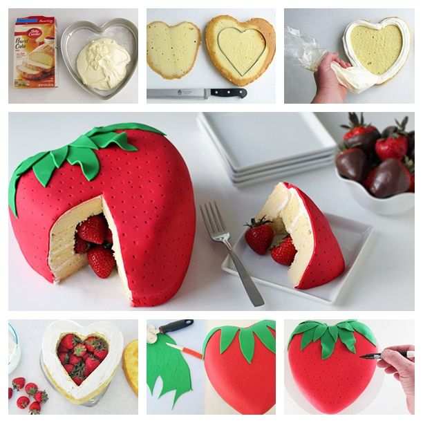 Cute strawberry shaped cake ! It holds a special surprise inside – even more strawberries!   Check Recipe ---> http://wonderfuldiy.com/wonderful-diy-cute-strawberry-cake/