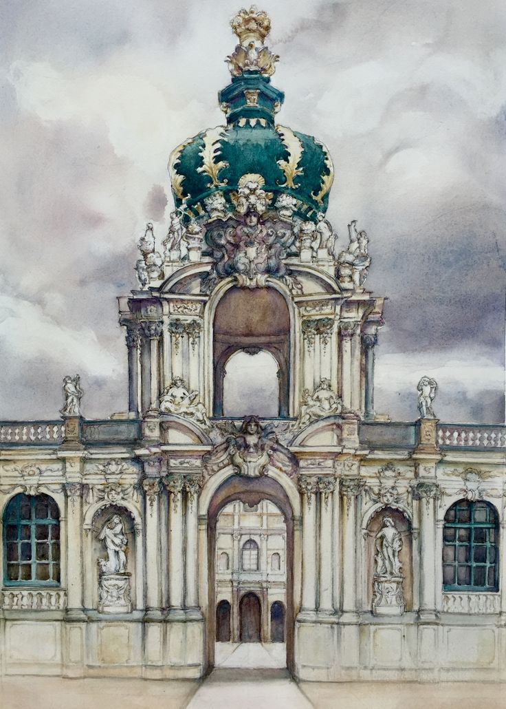 Zwinger Palace, Dresden watercolour by Jenny Diamond designs