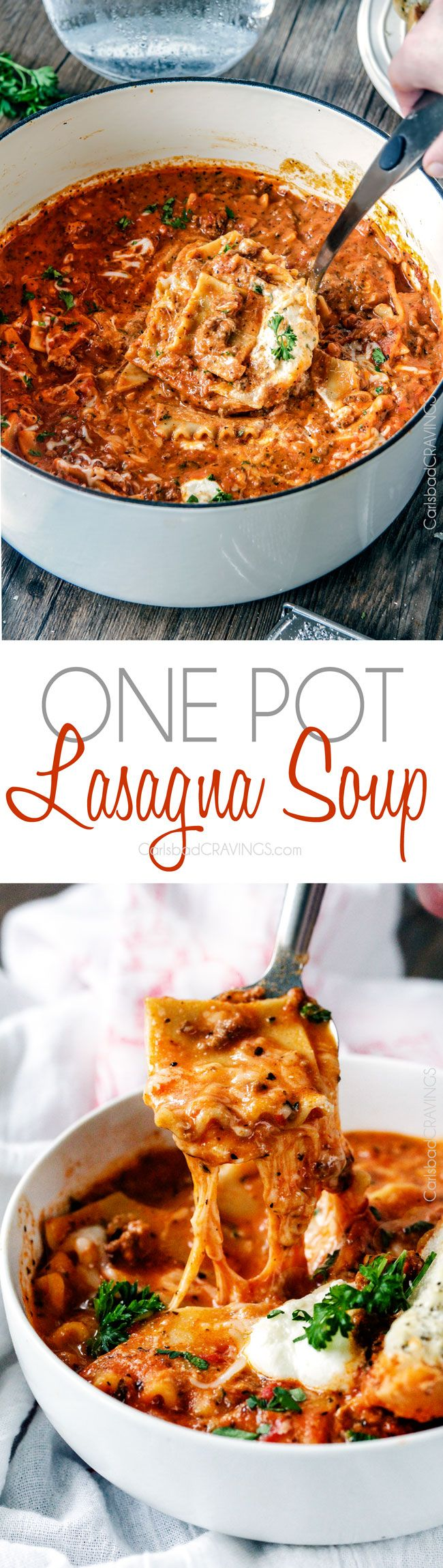 Easy One Pot Lasagna Soup tastes just like lasagna without all the layering or dishes! Simply brown your beef and dump in all ingredients and simmer away!