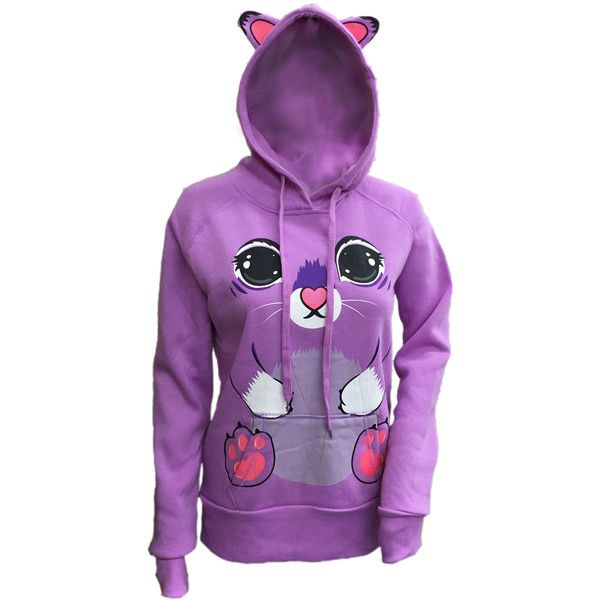 Women's Animal Graphic Zip-Up Hooded Sweatshirt with Ears (£16) ❤ liked on Polyvore featuring tops, hoodies, purple, animal print hoodie, purple zip up hoodie, zip up hoodies, hoodie top and purple hooded sweatshirt