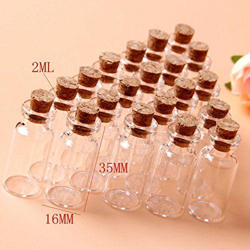20X 2ml Leere Glasflaschen Schnapsflaschen Lik?rflaschen Mini Glasfl?schchen 16x35mm
