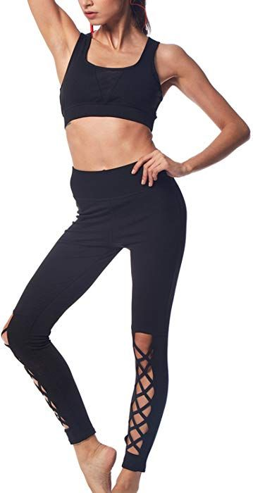 5095024bf3f BELLEZIVA Women s Yoga Two Pieces Criss Cross Cutout Sport Fitness Running  Workout Suit 2XL Black at Amazon Women s Clothing store