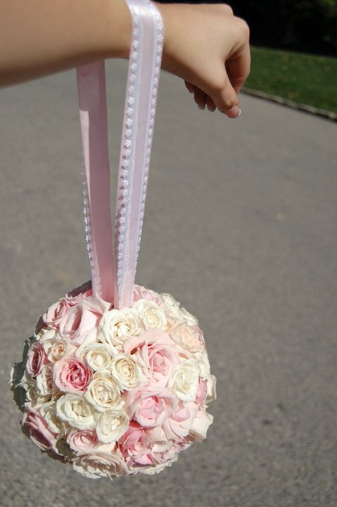 Pale pink cream and white spray rose pomander ball our