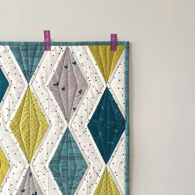 salty oat: modern handmade quilts: teal-and-chartreuse diamond mini quilt