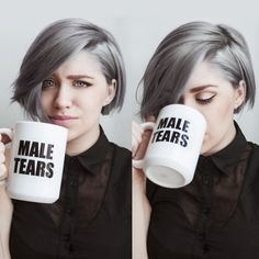 I like this haircut for growing out my pixie. Not necessarily the color or the cup of male tears...